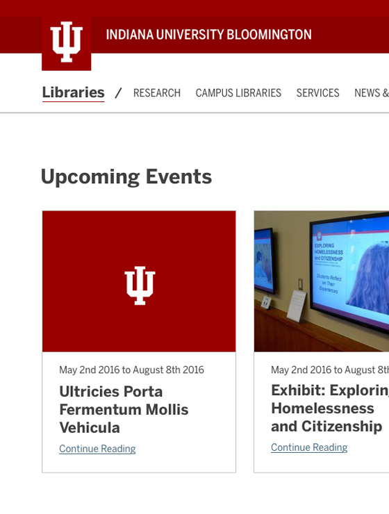Indiana University Library UX/UI and Visual Design